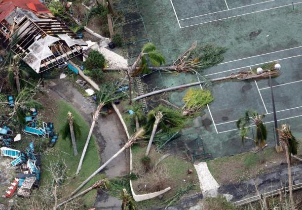 Toppled trees lie on a tennis court after Hurricane Maria battered St. Croix, U.S. Virgin Islands