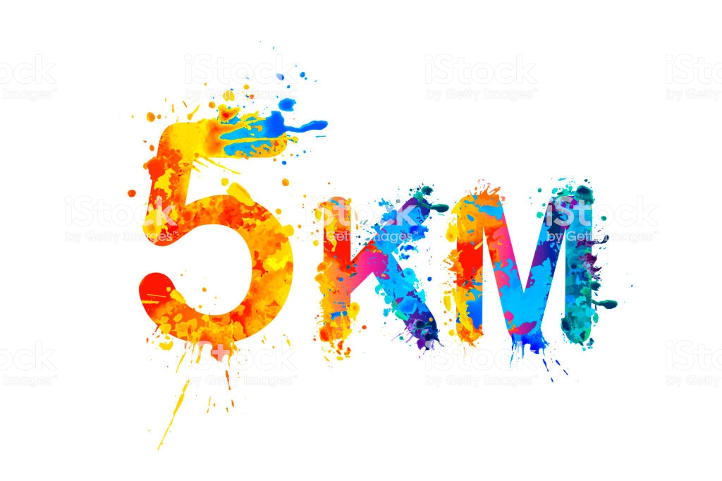 5 km. Short running distance. Splash paint sign