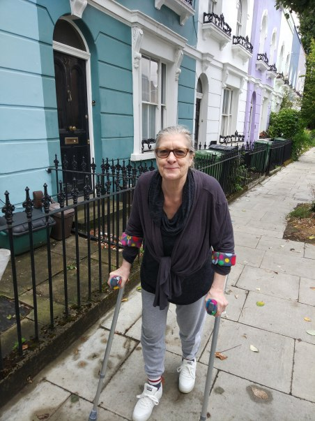 PB Jane on crutches